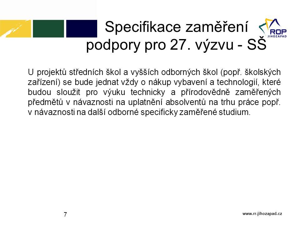 Specifikace zaměření podpory pro 27. výzvu - SŠ