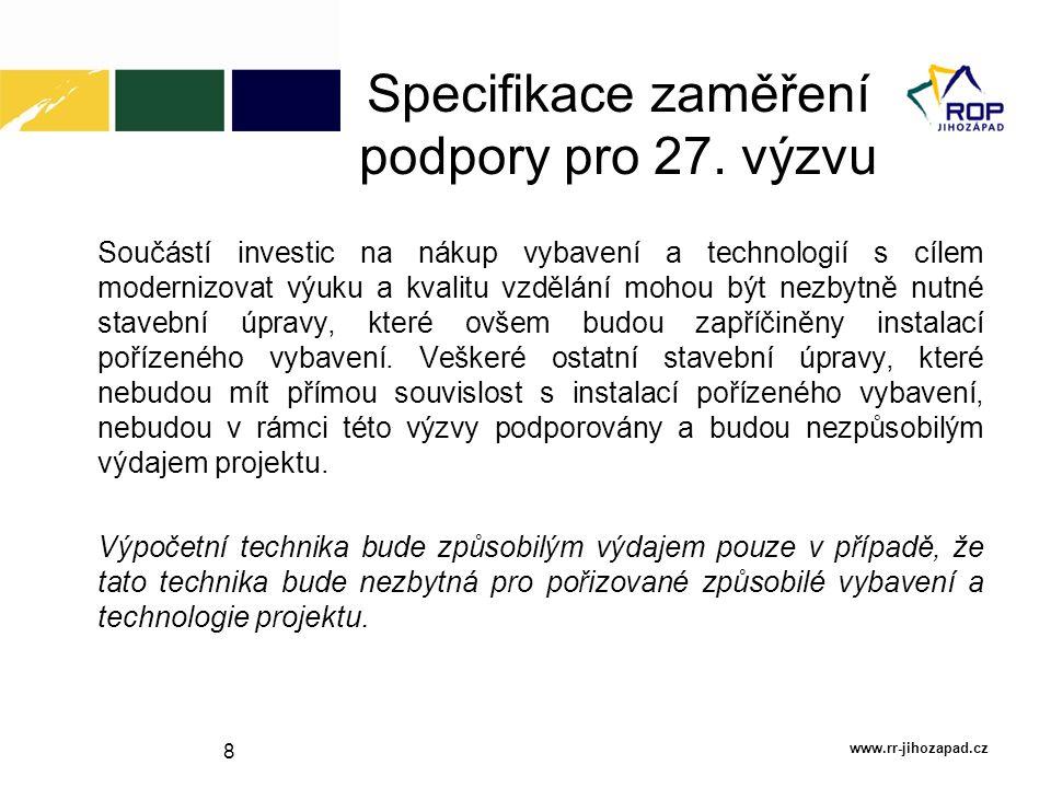 Specifikace zaměření podpory pro 27. výzvu