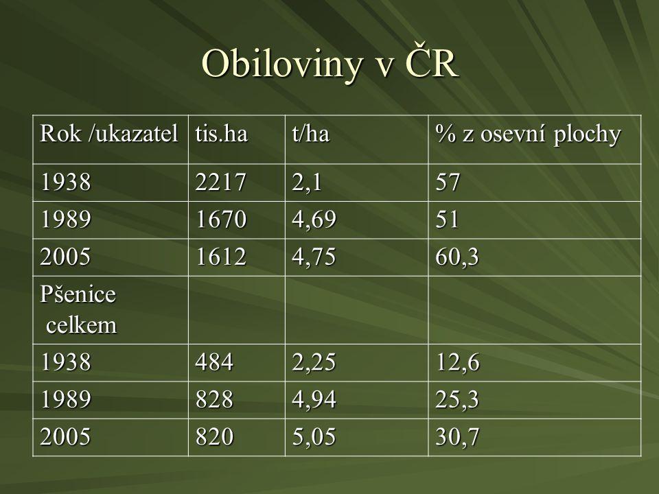 Obiloviny v ČR Rok /ukazatel tis.ha t/ha % z osevní plochy 1938 2217