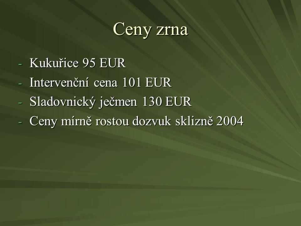 Ceny zrna Kukuřice 95 EUR Intervenční cena 101 EUR