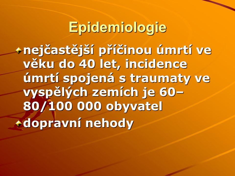 Epidemiologie nejčastější příčinou úmrtí ve věku do 40 let, incidence úmrtí spojená s traumaty ve vyspělých zemích je 60–80/100 000 obyvatel.