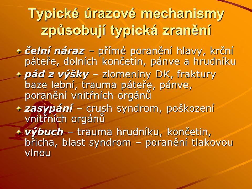 Typické úrazové mechanismy způsobují typická zranění