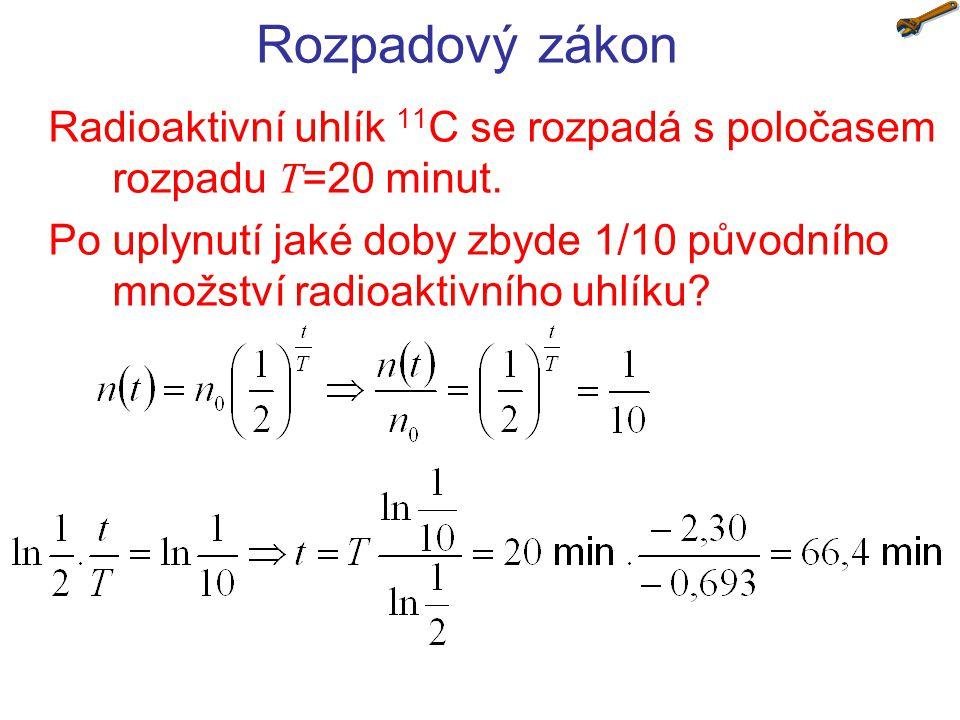 Rozpadový zákon Radioaktivní uhlík 11C se rozpadá s poločasem rozpadu T=20 minut.
