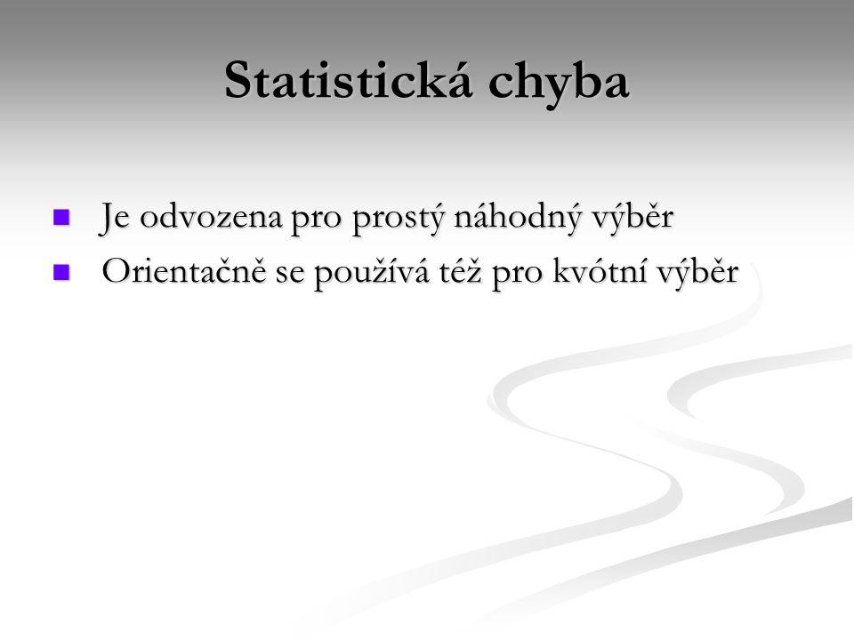 Statistická chyba Je odvozena pro prostý náhodný výběr