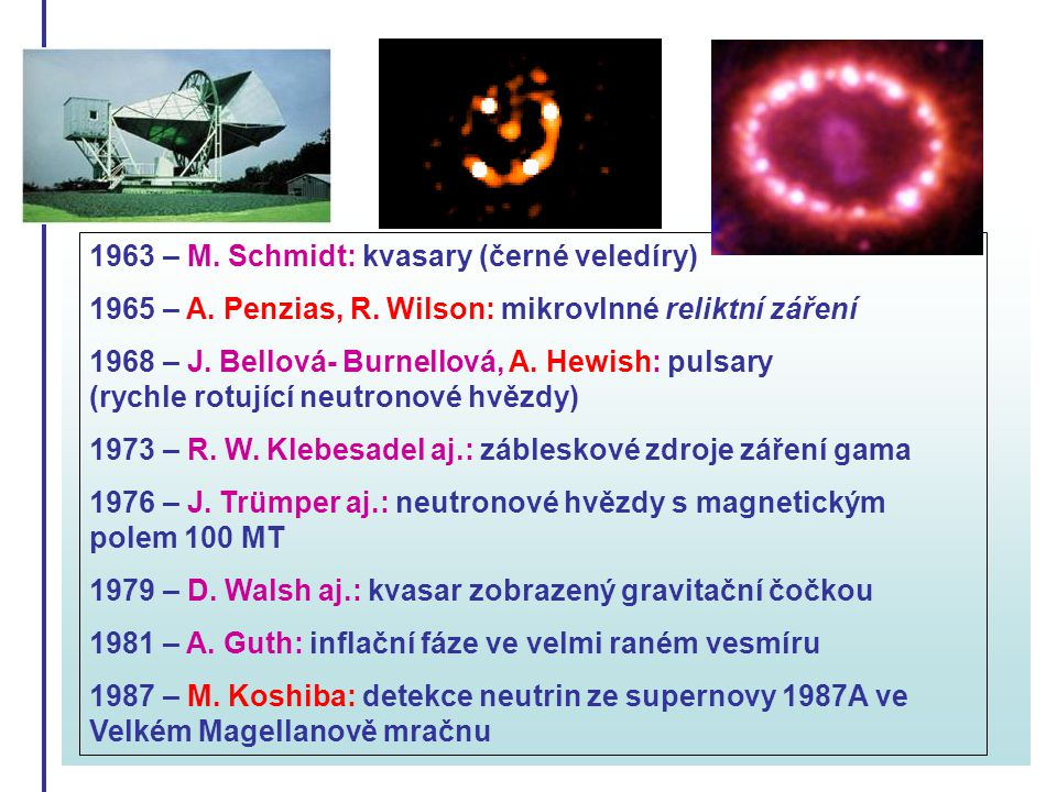 1963 – M. Schmidt: kvasary (černé veledíry)
