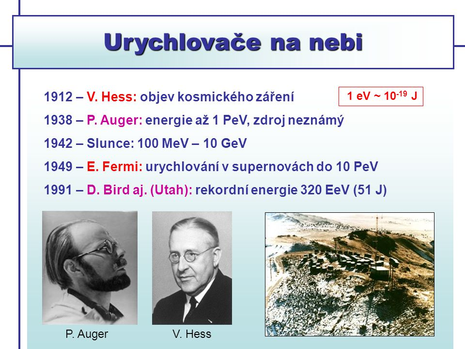 Urychlovače na nebi 1912 – V. Hess: objev kosmického záření