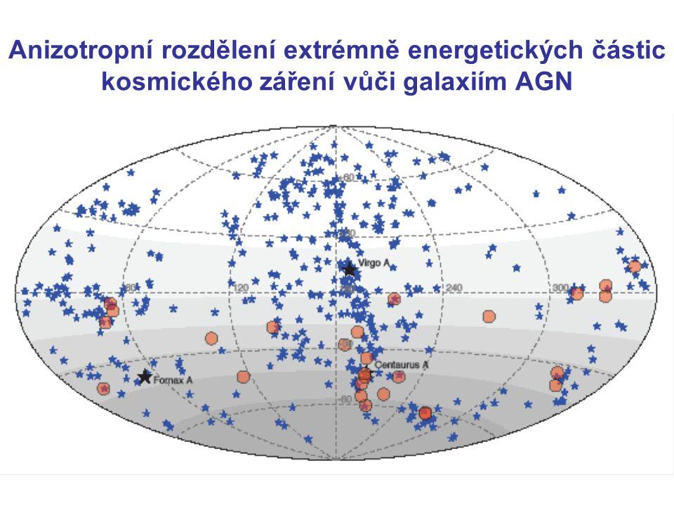 Anizotropní rozdělení extrémně energetických částic kosmického záření vůči galaxiím AGN