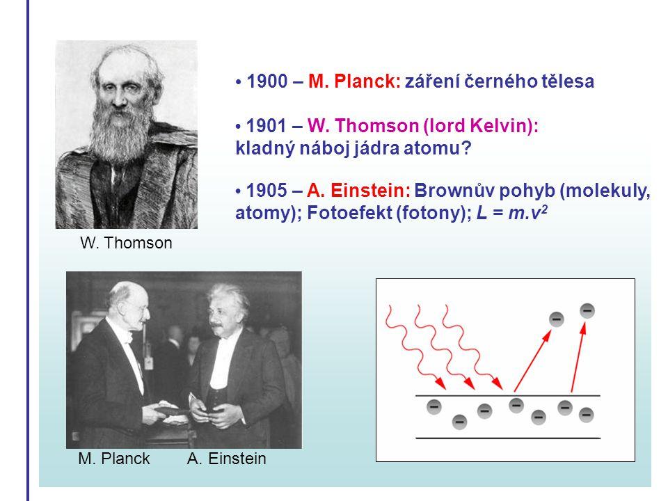 • 1900 – M. Planck: záření černého tělesa