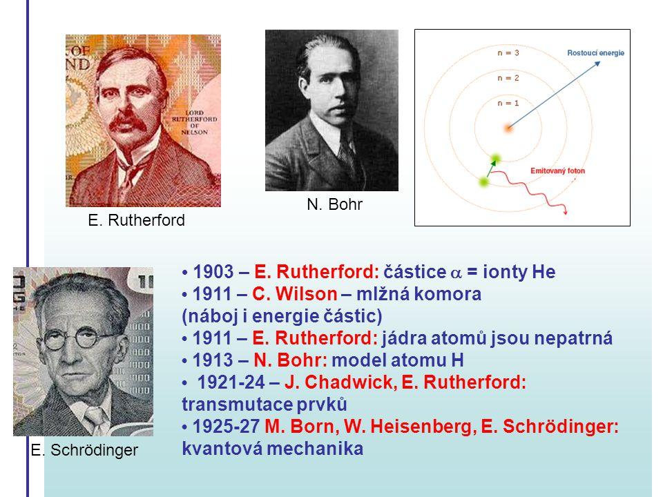 N. Bohr E. Rutherford. • 1903 – E. Rutherford: částice a = ionty He • 1911 – C. Wilson – mlžná komora (náboj i energie částic)