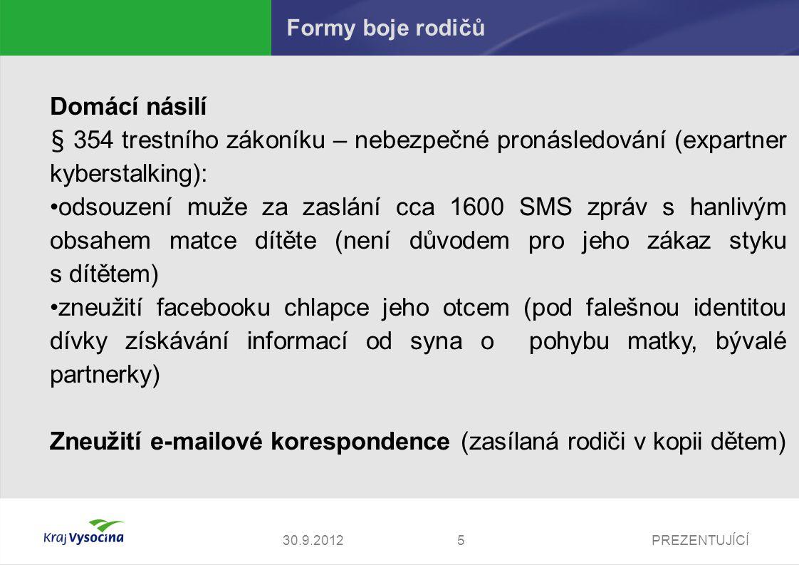 Zneužití e-mailové korespondence (zasílaná rodiči v kopii dětem)