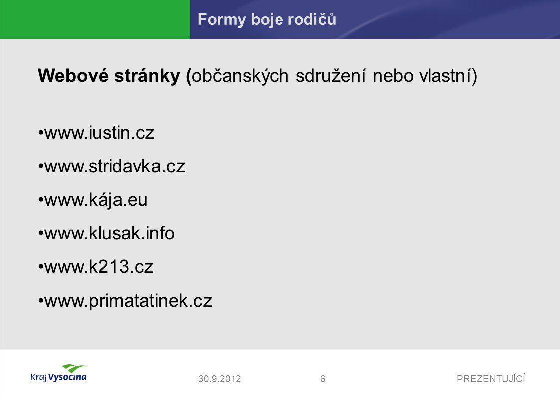 Webové stránky (občanských sdružení nebo vlastní) www.iustin.cz