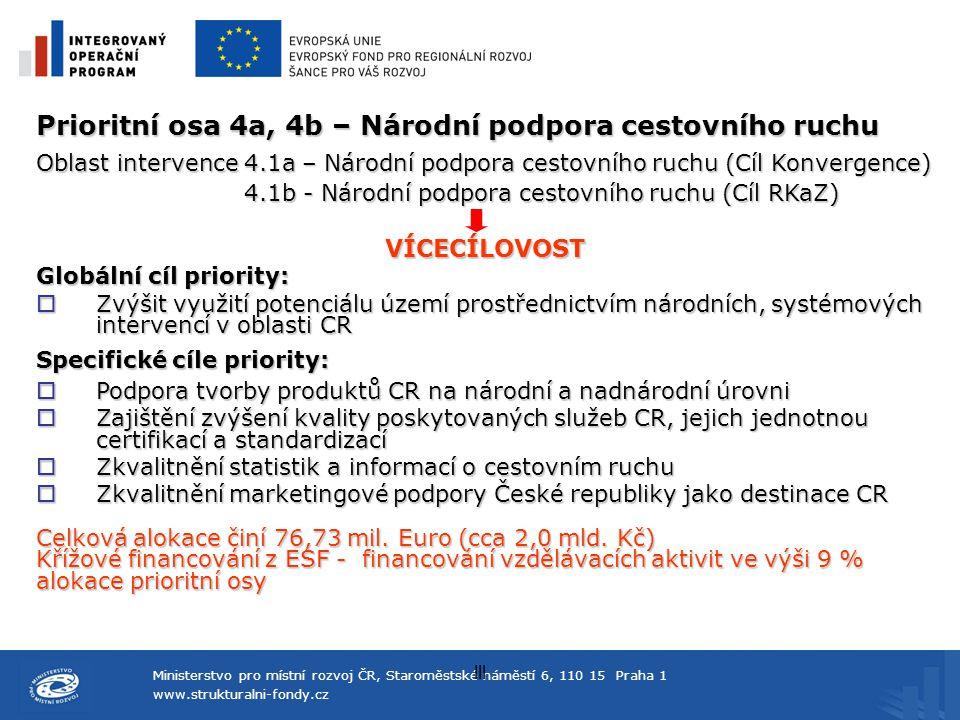 Prioritní osa 4a, 4b – Národní podpora cestovního ruchu