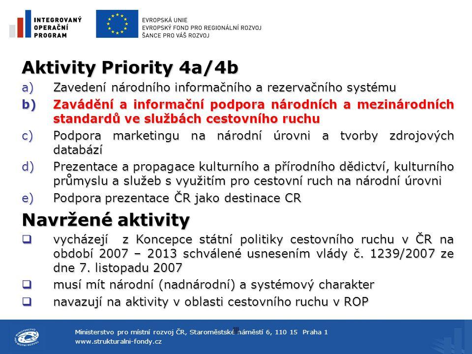Aktivity Priority 4a/4b Navržené aktivity