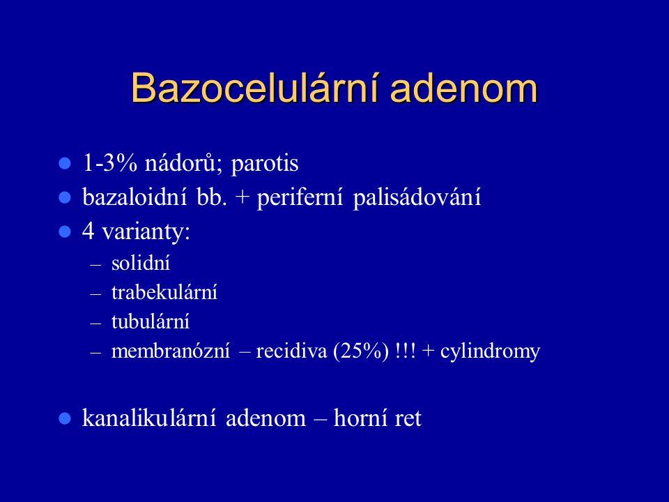 Bazocelulární adenom 1-3% nádorů; parotis
