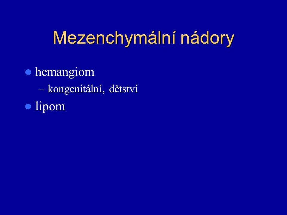 Mezenchymální nádory hemangiom kongenitální, dětství lipom