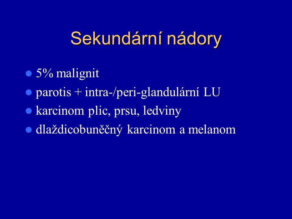 Sekundární nádory 5% malignit parotis + intra-/peri-glandulární LU