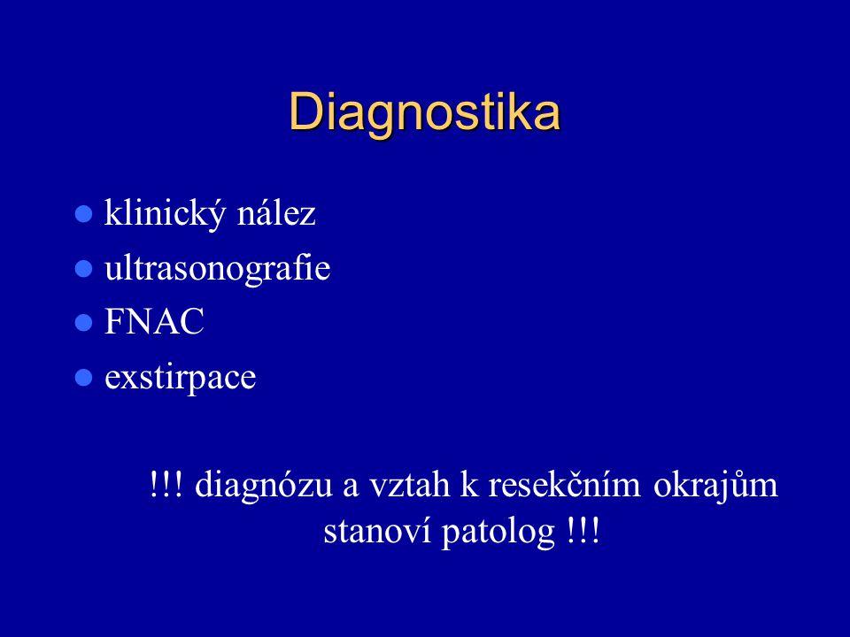 !!! diagnózu a vztah k resekčním okrajům stanoví patolog !!!