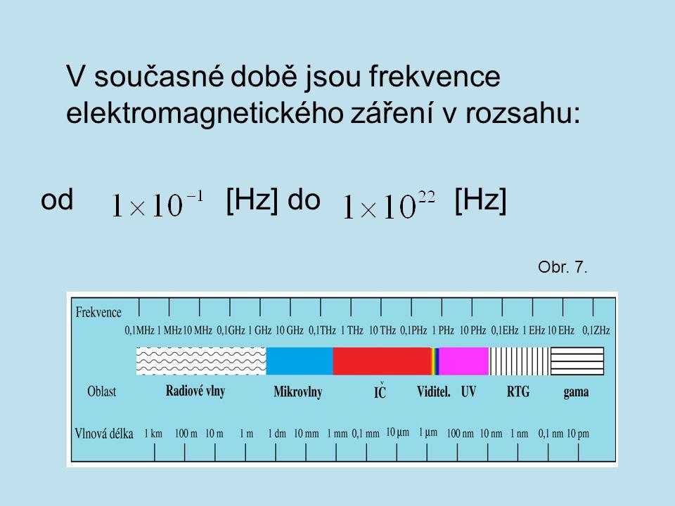 V současné době jsou frekvence elektromagnetického záření v rozsahu: