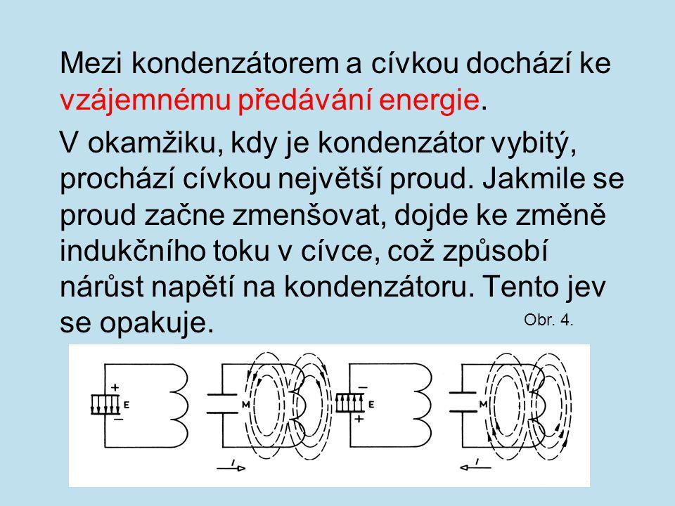 Mezi kondenzátorem a cívkou dochází ke vzájemnému předávání energie.