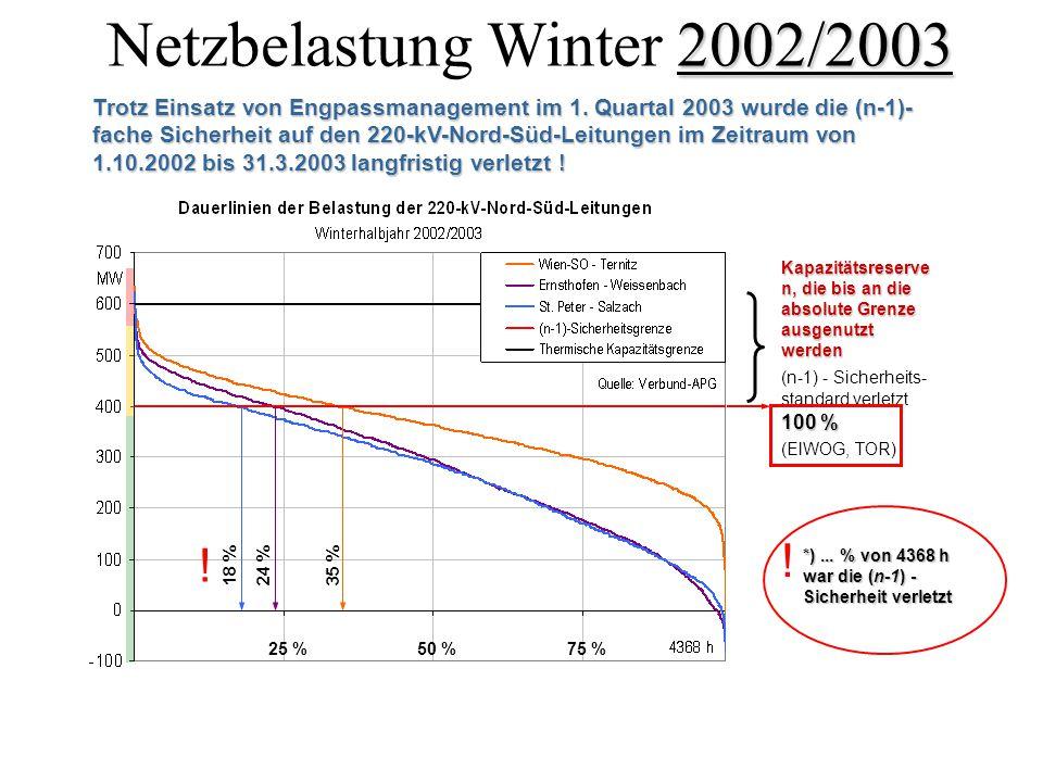 Netzbelastung Winter 2002/2003