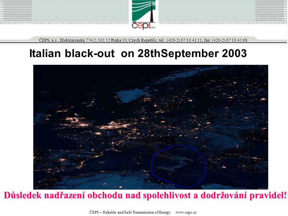 Italian black-out on 28thSeptember 2003