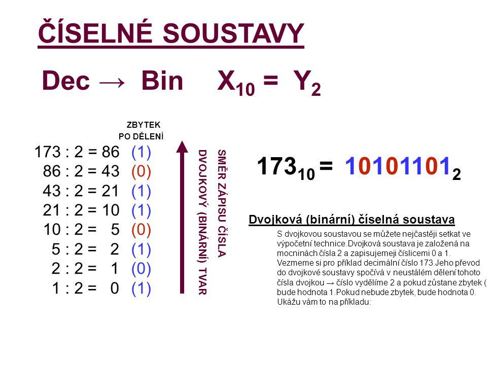 ČÍSELNÉ SOUSTAVY Dec → Bin X10 = Y2 17310 = 101011012 ZBYTEK