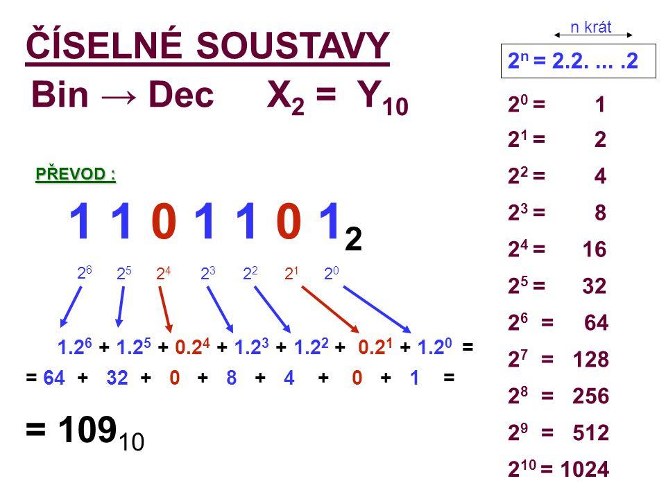 1 1 0 1 1 0 12 ČÍSELNÉ SOUSTAVY Bin → Dec X2 = Y10 = 10910