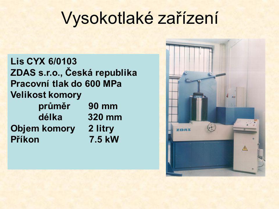 Vysokotlaké zařízení Lis CYX 6/0103 ZDAS s.r.o., Česká republika