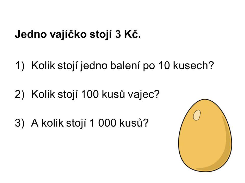 Jedno vajíčko stojí 3 Kč. Kolik stojí jedno balení po 10 kusech.