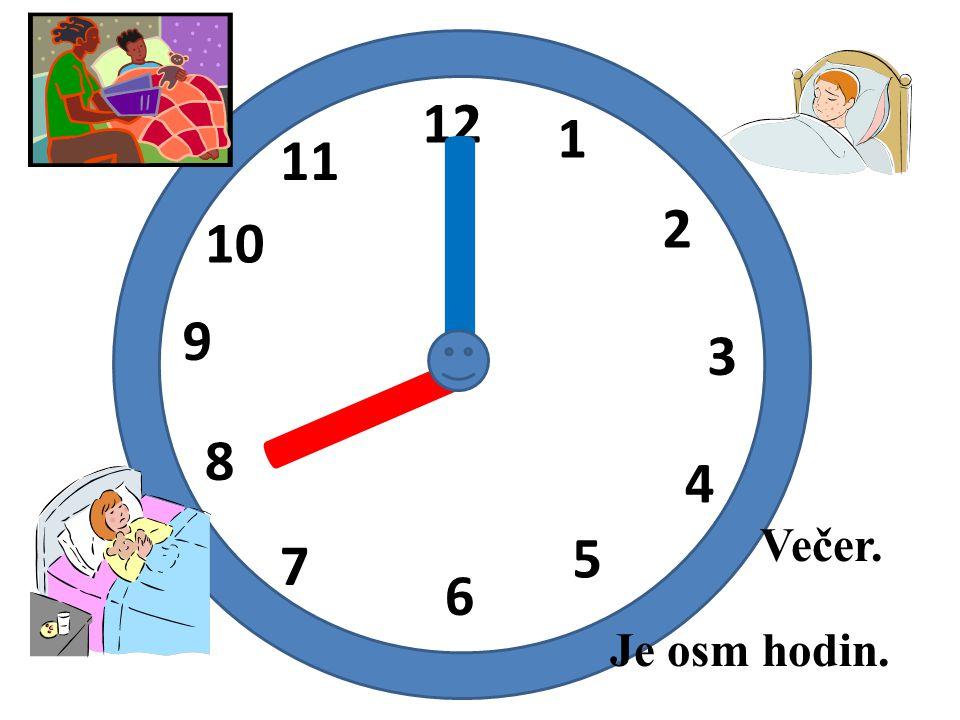 I 12 1 11 I 2 10 9 3 8 4 Večer. 5 7 6 Je osm hodin.