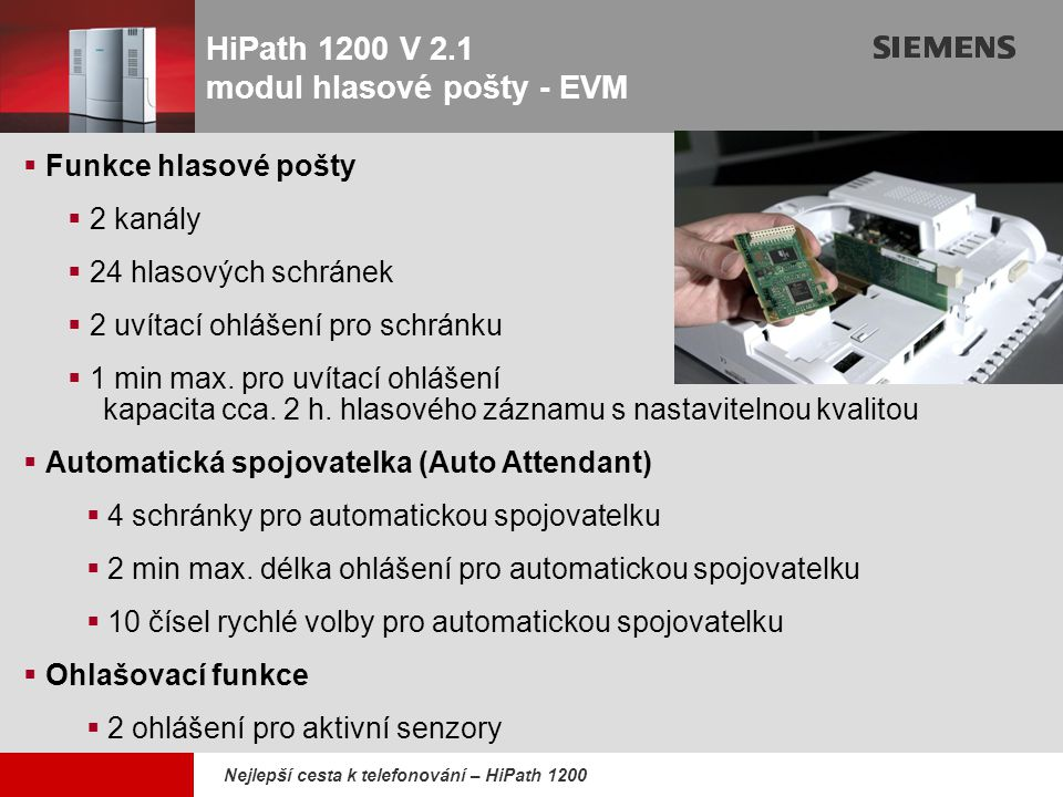 HiPath 1200 V 2.1 modul hlasové pošty - EVM
