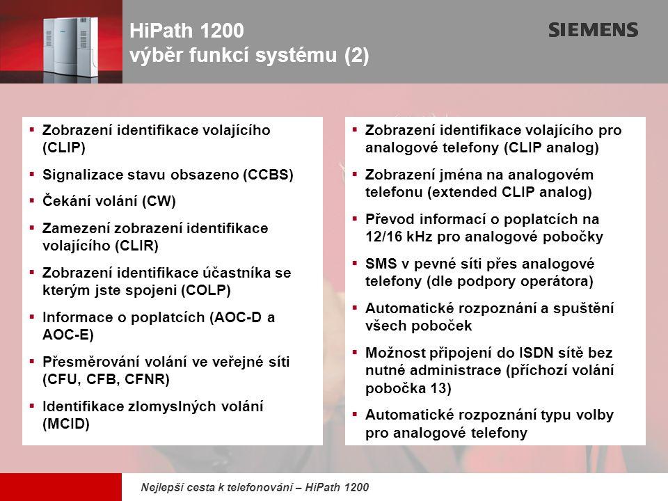 HiPath 1200 výběr funkcí systému (2)