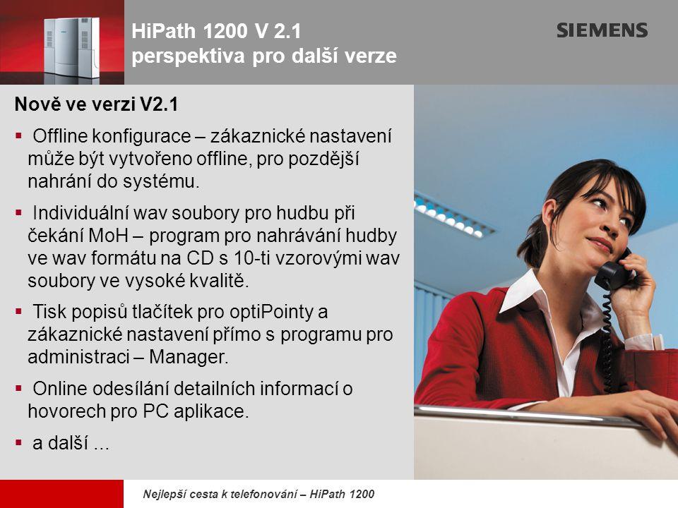 HiPath 1200 V 2.1 perspektiva pro další verze