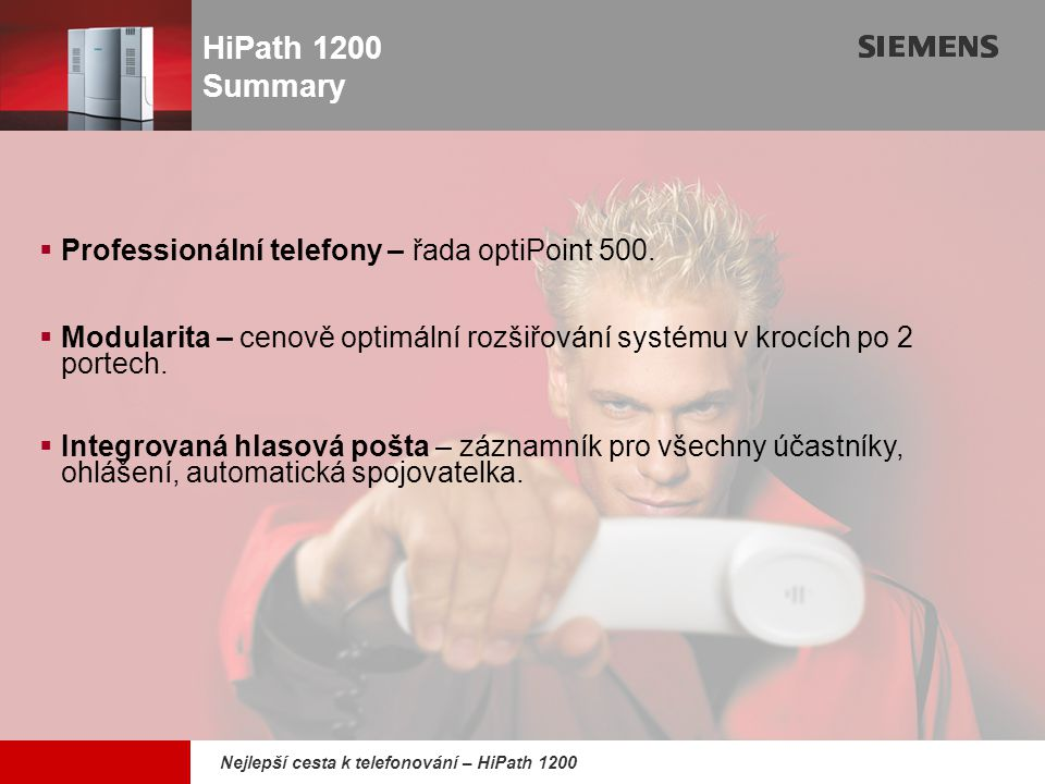 HiPath 1200 Summary Professionální telefony – řada optiPoint 500.
