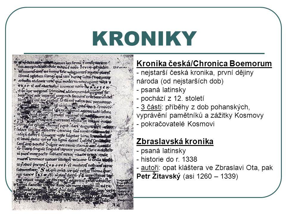 KRONIKY Kronika česká/Chronica Boemorum Zbraslavská kronika