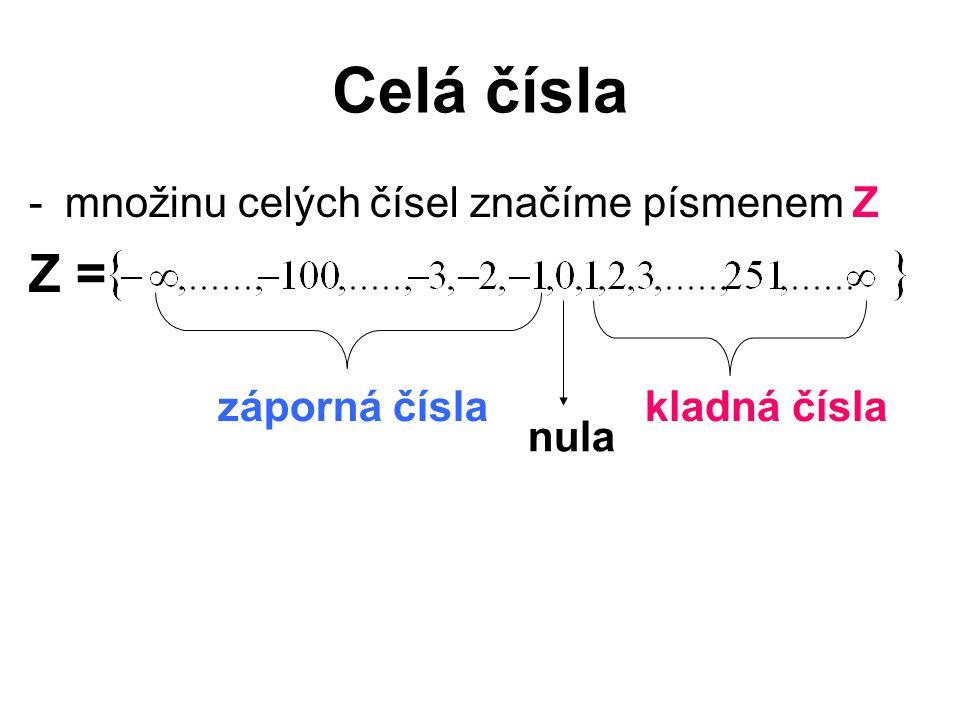 Celá čísla Z = množinu celých čísel značíme písmenem Z záporná čísla