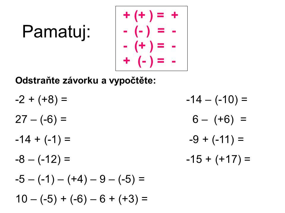 Pamatuj: + (+ ) = + - (- ) = - - (+ ) = - + (- ) = -