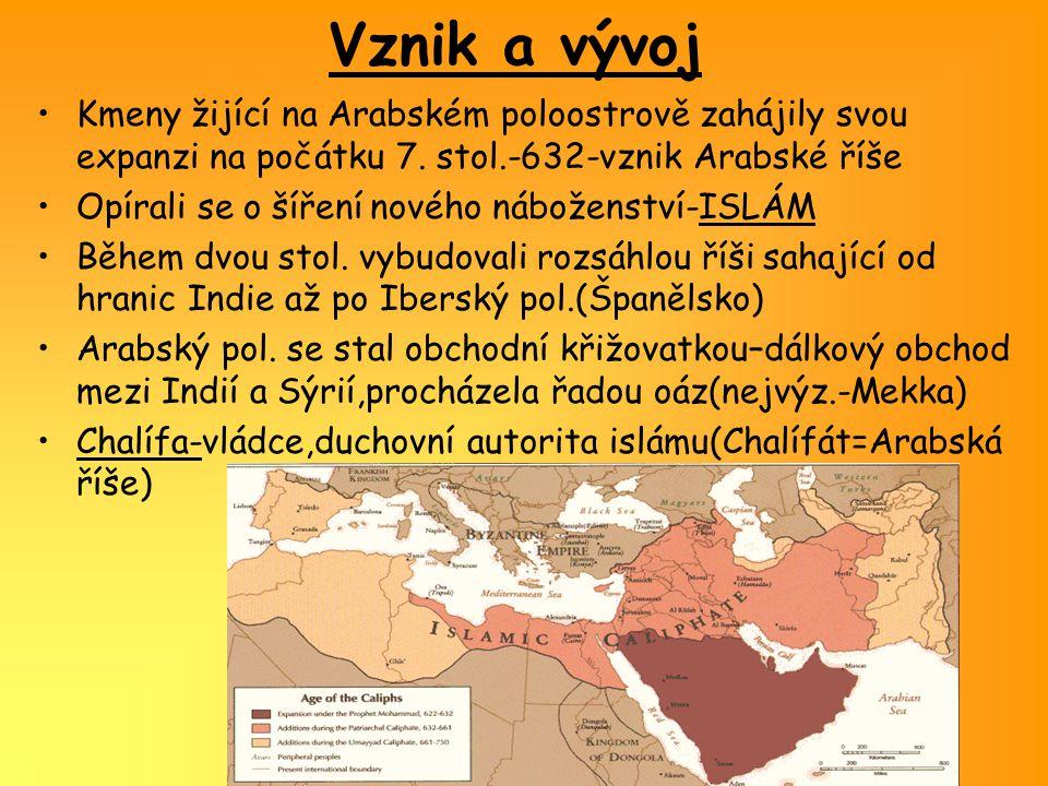 Vznik a vývoj Kmeny žijící na Arabském poloostrově zahájily svou expanzi na počátku 7. stol.-632-vznik Arabské říše.