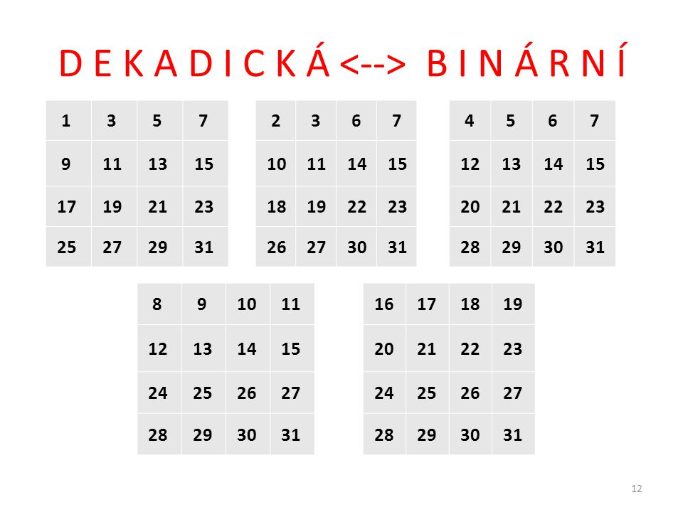 D E K A D I C K Á <--> B I N Á R N Í