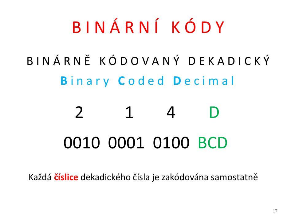 B I N Á R N Í K Ó D Y B I N Á R N Ě K Ó D O V A N Ý D E K A D I C K Ý. B i n a r y C o d e d D e c i m a l.