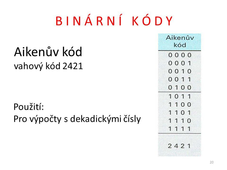 B I N Á R N Í K Ó D Y Aikenův kód vahový kód 2421 Použití:
