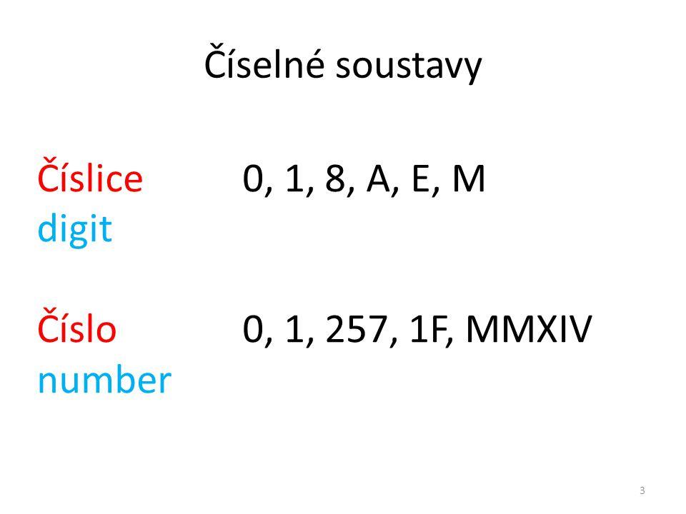 Číselné soustavy Číslice 0, 1, 8, A, E, M digit Číslo 0, 1, 257, 1F, MMXIV number