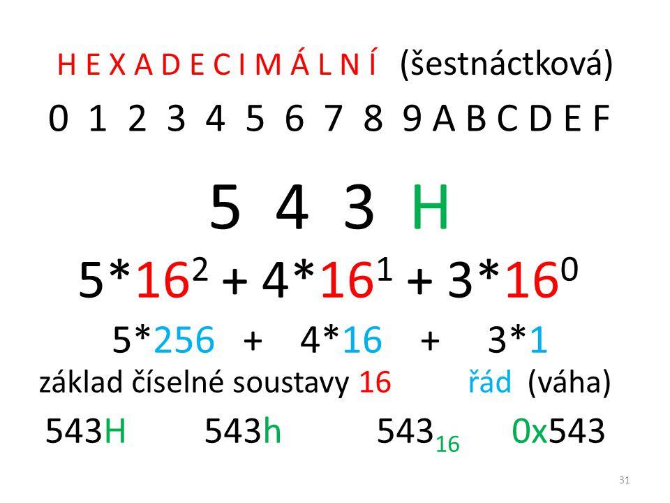H E X A D E C I M Á L N Í (šestnáctková)