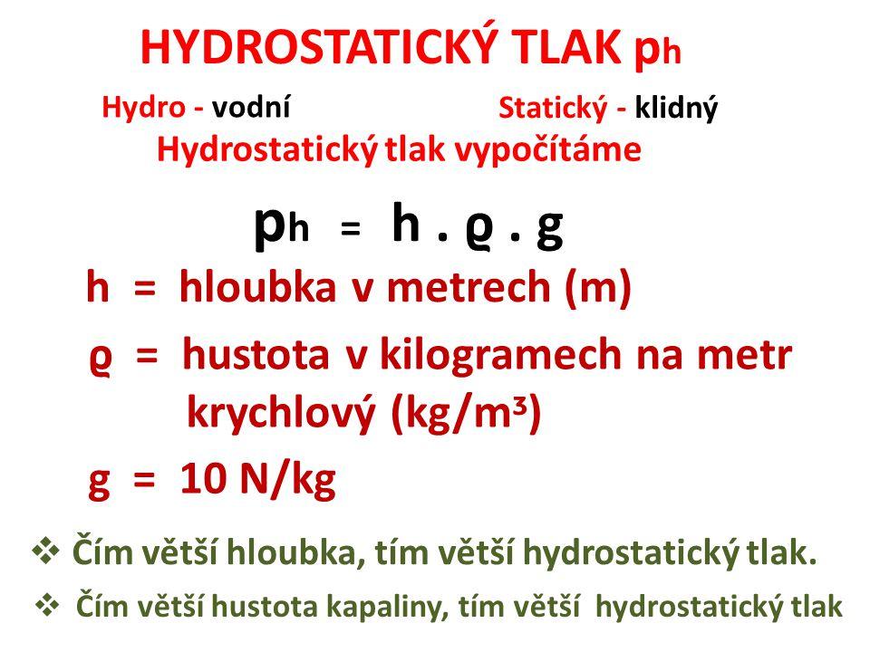 ph = h . ϱ . g HYDROSTATICKÝ TLAK ph h = hloubka v metrech (m)