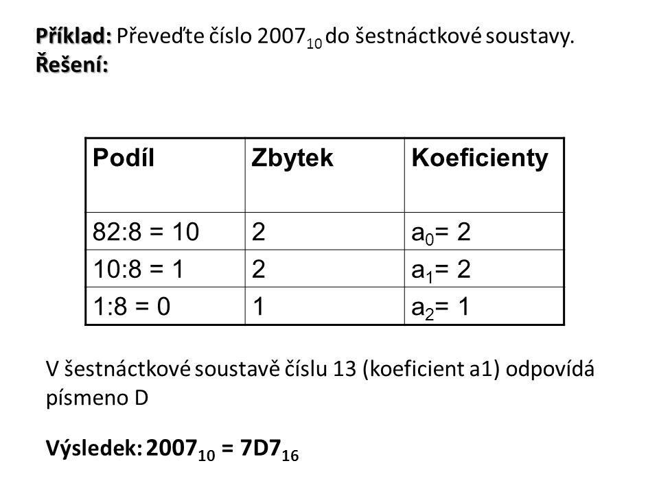 Příklad: Převeďte číslo 200710 do šestnáctkové soustavy. Řešení: