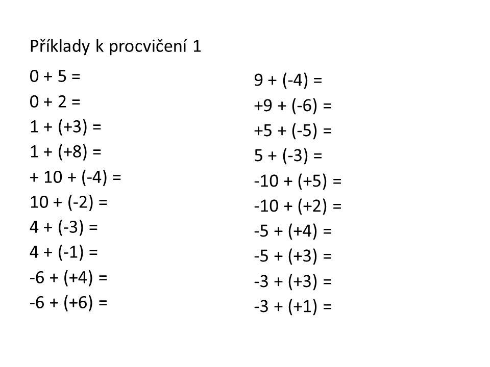 Příklady k procvičení 1 0 + 5 = 0 + 2 = 1 + (+3) = 1 + (+8) = + 10 + (-4) = 10 + (-2) = 4 + (-3) = 4 + (-1) = -6 + (+4) = -6 + (+6) =