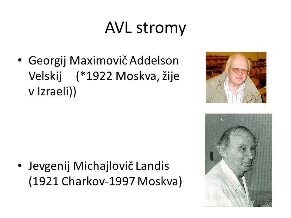 AVL stromy Georgij Maximovič Addelson Velskij (*1922 Moskva, žije v Izraeli)) Jevgenij Michajlovič Landis (1921 Charkov-1997 Moskva)
