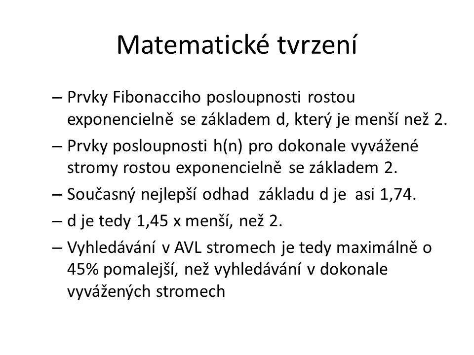 Matematické tvrzení Prvky Fibonacciho posloupnosti rostou exponencielně se základem d, který je menší než 2.