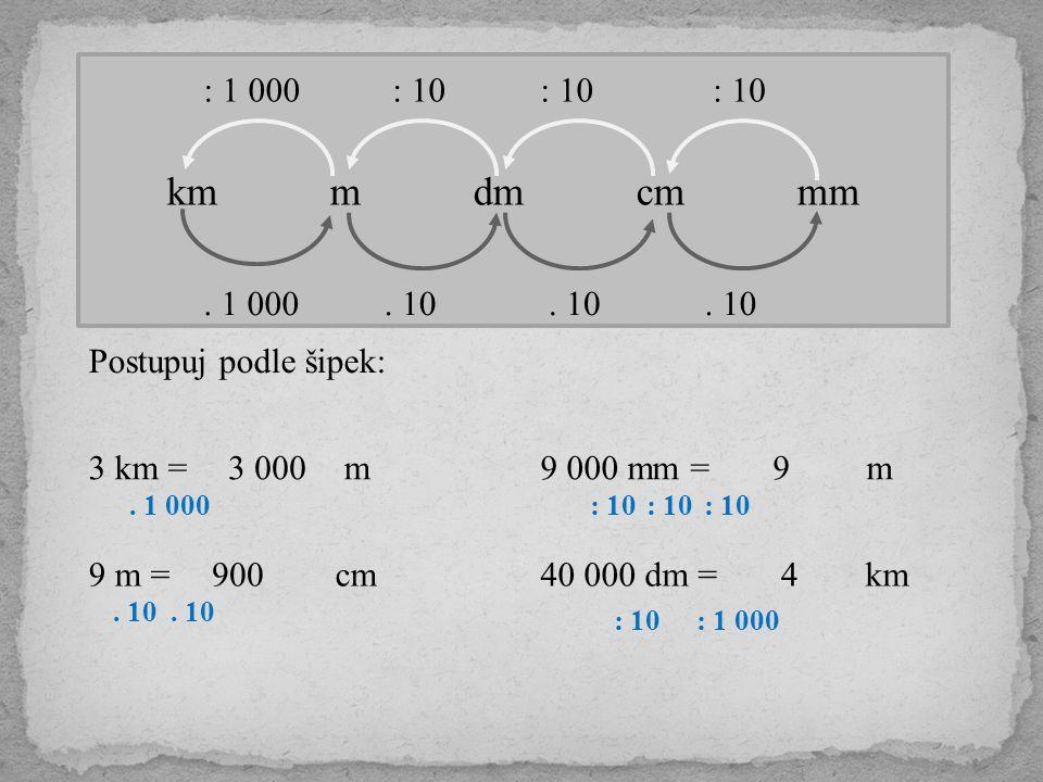 km m dm cm mm : 1 000. : 10. : 10. : 10. . 1 000. . 10.