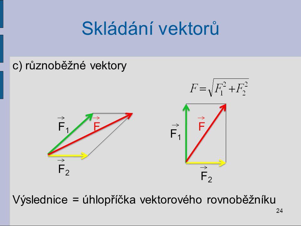 Skládání vektorů c) různoběžné vektory F F1 F2 F F1 F2